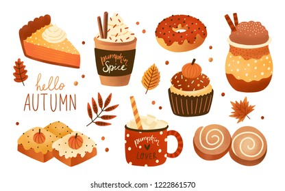 Collection of pumpkin spice seasonal flavored products, food and drinks isolated on white background. Bundle of autumn delicious sweet desserts or pastry. Modern colorful vector illustration.