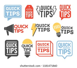 Collection of quick tip badges isolated on white background. Bundle of creative letterings or inscriptions decorated by various design elements. Colorful vector illustration in flat modern style.