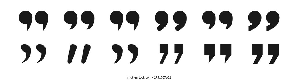 Collection of quotation mark symbols. Commas icons. White background. Vector illustration. EPS 10