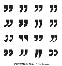 Collection of quotation marks, speech marks, quote sign icons. Black quote symbols isolated on a white background. Vector illustration