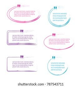 collection of quote box bubble speech template design vector isolated background