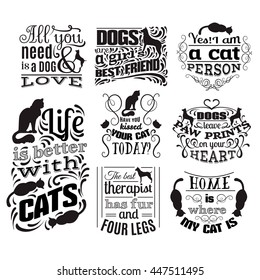 Collection of quote typographical background about cats and dogs with hand drawn waves and scrolls.Vector silhouette of cat. Template for business card poster and banner. Print for clothes.