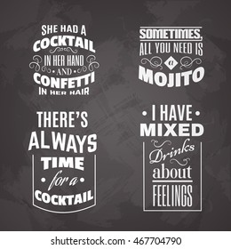 Collection of quote typographical background about cocktail . Template for card banner and poster for bar menu and restaurant