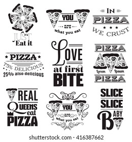 Collection of quote typographical background. Vector illustration of pepperoni pizza in hand drawn cartoon style.  Template for posters business card label and banner with place for your text.