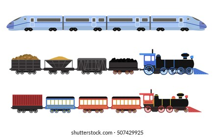 Collection of railway locomotives, passengers wagons and speed trains. Flat vector illustration.
