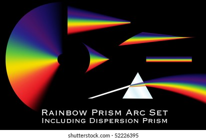Collection of rainbow arcs including a dispersion prism illustration.