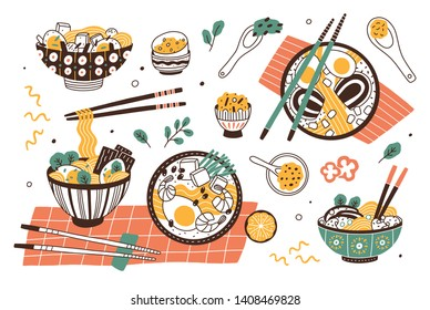 Collection of ramen in bowls and chopsticks. Set of traditional tasty Asian or Japanese meal with noodles and broth. Bundle of delicious soup or stew. Flat cartoon colorful vector illustration.