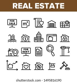 Collection Real Estate Elements Vector Icons Set Thin Line. Building And House, Map And Plan, Garage And Swimming Pool Real Estate Concept Linear Pictograms. Monochrome Contour Illustrations