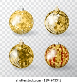 Collection of Realistic 3d Vector Christmas Balls with Golden Mosaic Ornament. Set of Discoball Xmas Baubles or New Year Decoration Ball Elements