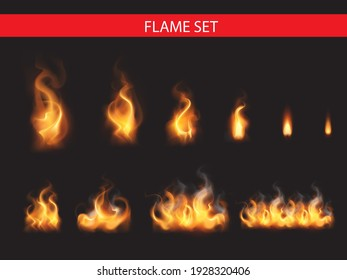 Collection of realistic fire flames