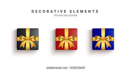 Collection of realistic gift boxes, decorative presents isolated on white background. Vector illustration.