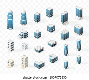 Collection of Realistic Isometric High Quality City Element for Map on Transparent Background . Buildings