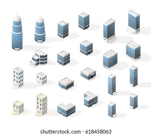 Collection of Realistic Isometric High Quality City Element for Map. Buildings