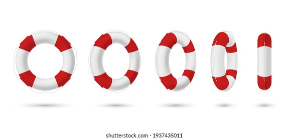Collection of realistic lifebuoy striped circle with shadow vector isometric illustration. Set of various perspectives rescue life belt isolated on white. Survival ring marine equipment lifeline