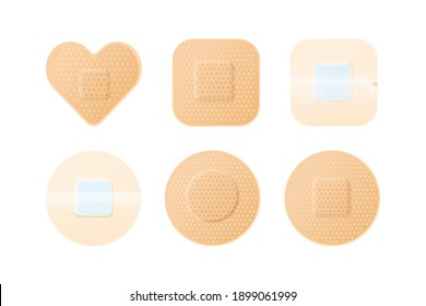 Collection of realistic medical adhesive plasters patches. Modern perforated medical, first aid bandages set. Flat vector cartoon illustration isolated on white background