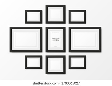 Collection realistic picture frame isolated on white background. For your text here. Vector illustration.