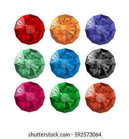 Collection of realistic round faceted gems of different colors. Ruby, diamond, sapphire, emerald, topaz, amethyst, aquamarine, black diamond. Vector illustration, isolated on white background.
