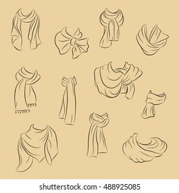 Collection of realistic scarf. Fashionable accessories. Vector illustration in hand drawing style.