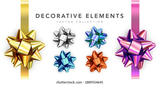 Collection of realistic shiny bows isolated on white background. Golden, silver, red, gift bows for cards, presentation, valentine's day, christmas and birthday illustrations. Vector illustration