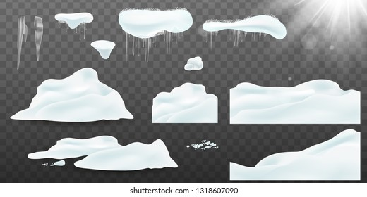 Collection of realistic snow caps, snow, snowball, pile, icicles, snowdrift. Christmas snow, white elements, holiday vector snow. Design template for winter and christmas. Spring Sun flash with rays
