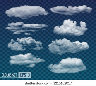Collection of realistic transparent night clouds. Vector illustration EPS10