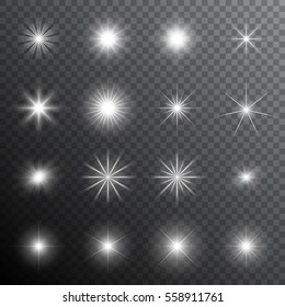 Collection of realistic transparent star sparkles. Vector illustration