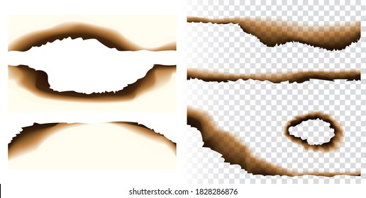 Collection of realistic vector paper burnt holes and scraps edges scorched isolated on transparent background. Burnt page edges and corners. Destroyed paper or parchment with cracked and dirty borders