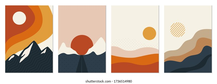 Collection of rectangular abstract landscapes. Sun, mountains, waves. Japanese style. Modern layouts, fashionable colors. Layouts for social networks, banners, posters. vector illustration