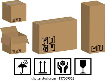 Collection of recycle brown packaging boxes and packaging icons
