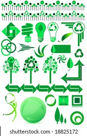 Collection of recycle and environmental vector design elements.