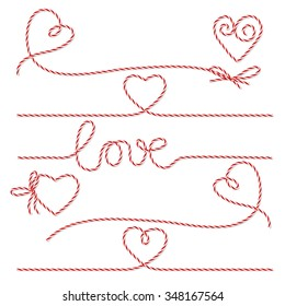 Collection of red bakers twine romantic bows and ribbons on white background