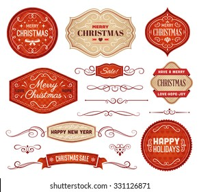 Collection of red and beige christmas vector labels and ornaments.