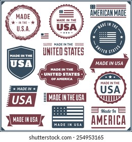 Collection of red and blue made in the USA labels. Vector format.