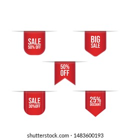 Collection of red discount stickers promotion badge vector design sale shopping icon badge image