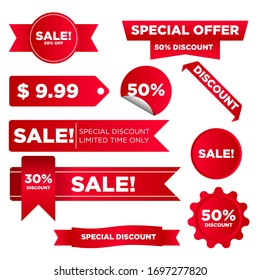 Collection of red discount stickers Vector
