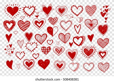 Collection of red doodle sketch hearts hand drawn with ink. Vector illustration.