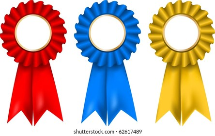 Collection of red, gold and blue rosettes
