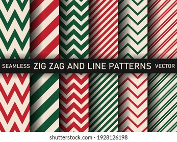 Collection of Red Green White Zig zag and striped Lines Backgrounds. Pack of Christmas Candy Cane Stripes Vector Patterns. Set of Classic Winter Holiday Mint Candy Treat.