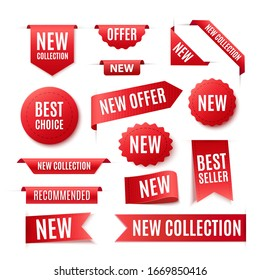 Collection Of Red Promo Badges Or Labels Isolated On White Background. Vector Ribbon Banners Set