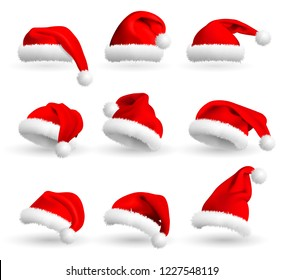 Collection of Red Santa Claus Hats isolated on white background. Set. Vector Realistic Illustration.