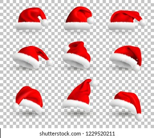 49e56adba68 Collection of Red Santa Claus Hats isolated on transparent background. Set.  Vector Realistic Illustration