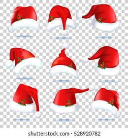 Collection of red santa hats. Set caps of Santa Claus on transparent background. vector