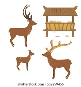 a collection of reindeer, and a manger with hay. isolated on a white background. vector illustration