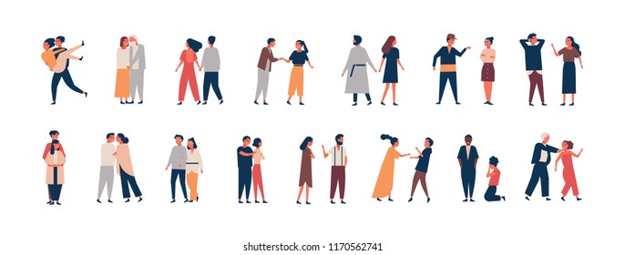 Collection of relationship development stages. Set of men and women dating, quarreling, hugging, fighting. Couples or romantic partners isolated on white background. Flat cartoon vector illustration.