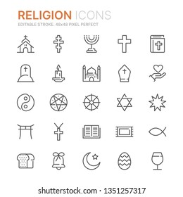 Collection of religion line icons. 48x48 Pixel Perfect. Editable stroke