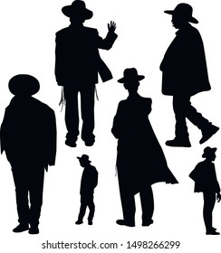 A collection of religious Jews in Jerusalem. Katan and tzitzit are dressed on youths. Jews in a hat. Young Hasidim Jews are dressed in traditional clothes. Isolated vector illustration Black on white.