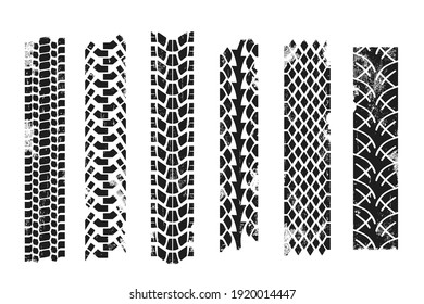 Collection of repeatable tire prints. Grunge effect. Vector illustration.
