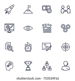 Collection Of Research, Deadline, Support And Other Elements.  Set Of 16 Business Outline Icons Set.