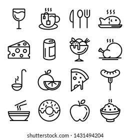 Collection of restaurant thin line icons. Food in black line illustration vector. Food line icon Bakery fast food fruits and vegetables breakfast drinks