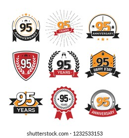 Collection of retro 95 th years anniversary logo. Set of Isolated vintage icons of ninety-five years celebrating vector illustration